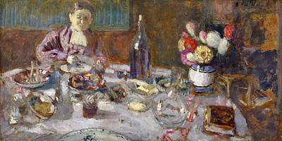 Table Wine Painting - Luncheon by Edouard Vuillard