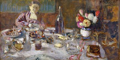 Table Wine Painting - Luncheon by Edouard Vuillard