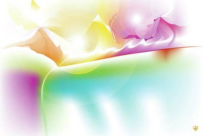 Wall Art - Digital Art - Lux - Abstract Art Print - Fantasy - Digital Art - Rainbow Mountains - Fine Art Print - Landscape Pr by Ron Labryzz
