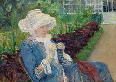 Townscape Painting - Lydia Crocheting In The Garden At Marly by Mary Cassatt