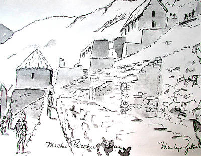 Drawing - Machu Picchu by Marilyn Zalatan