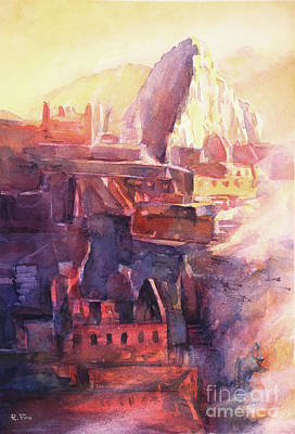 Painting - Machu Picchu Ruins- Peru by Ryan Fox