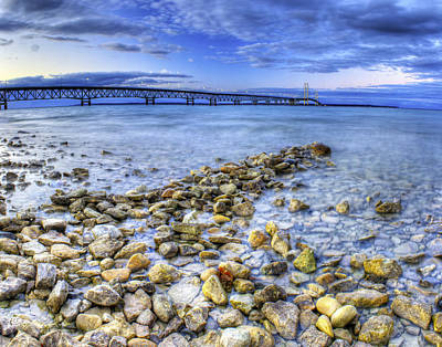 Hdr Photograph - Mackinac Bridge From The Beach by Twenty Two North Photography