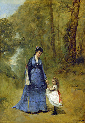 Painting - Madame Stumpf And Her Daughter by Jean Baptiste-Camille Corot
