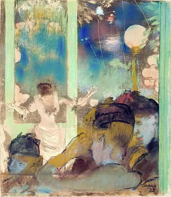 French Cafe Pastel - Mademoiselle Becat At The Cafe Des Ambassadeurs by Edgar Degas