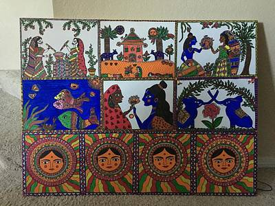 Holi Painting - Madhubani  by Parul Singh