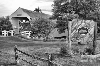 Photograph - Madison County Imes Bridge Landscape Black And White by Adam Jewell