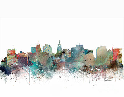 Painting - Madison Wisconsin Skyline  by Bri B