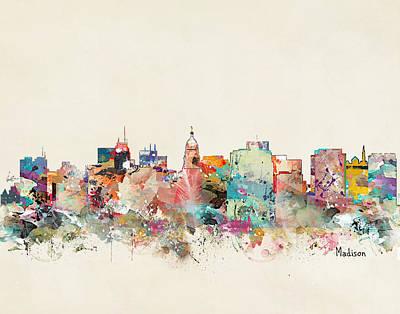 Painting - Madison Wisconsin Skyline by Bri B