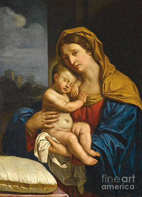 Giovanni Francesco Barbieri Painting -   Madonna And Child by Guercino