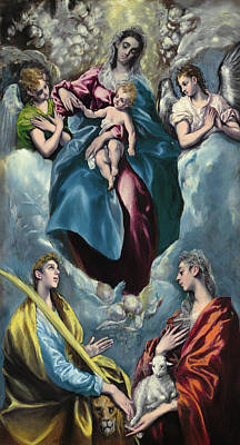 Historical Painting - Madonna And Child With Saint Martina And Saint Agnes by El Greco