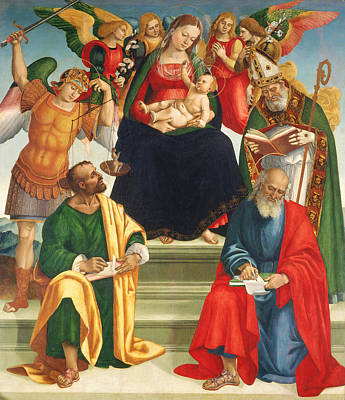 Child Jesus Painting - Madonna And Child With Saints And Angels by Luca Signorelli