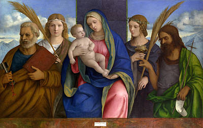 Child Jesus Painting - Madonna And Child With Saints by Giovanni Bellini
