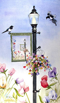 Painting - Magpies And Sweetpeas by Marsha Karle