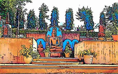 Digital Art - Mahabodhi Temple by Lisa Dunn