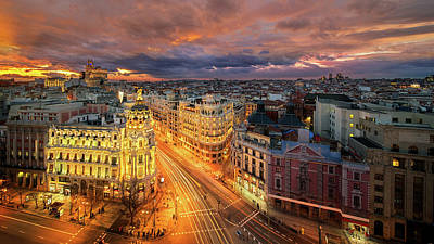 Photograph - main shopping street in Madrid by Anek Suwannaphoom