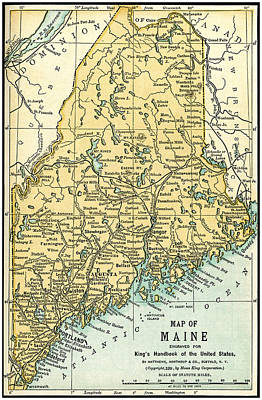 Photograph - Maine Antique Map 1891 by Phil Cardamone