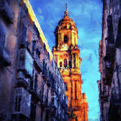 Painting - Malaga, Cathedral - 02 by Andrea Mazzocchetti