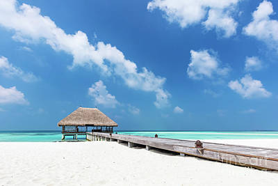 Wooden Photograph - Maldives Islands. Wooden Jetty With Water Relaxation Lodge. by Michal Bednarek
