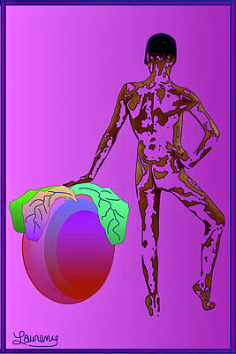 Pop Art Wall Art - Photograph - Male With Plum by Laurence Wolfe