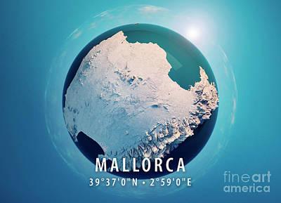 Mallorca Island 3d Little Planet 360-degree Sphere Panorama Blue Art Print
