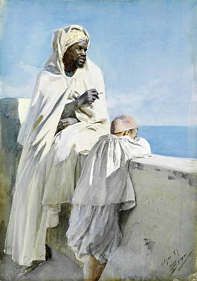 Anders Zorn Drawing - Man And Boy In Algiers by Anders Zorn