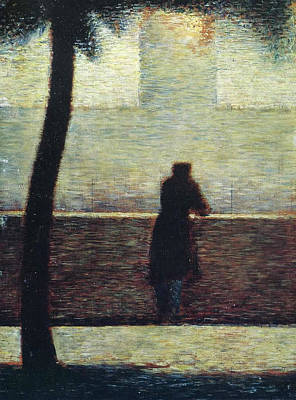 Pointilist Painting - Man At The Rail by Georges Seurat