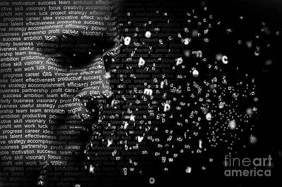 Ambition Photograph - Man Face Blended With Flowing List Of Motivational Words by Michal Bednarek