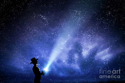 Journey Photograph - Man In Hat Throwing Light Beam Up The Night Sky Full Of Stars. To Explore, Dream, Magic. by Michal Bednarek