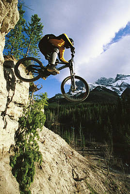 Man Jumping On His Mountain Bike Print by Mark Cosslett