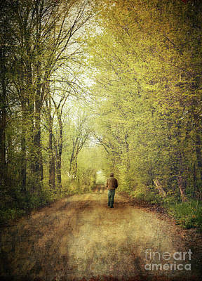 Man Walking  On A Lonely Country Road Art Print by Sandra Cunningham