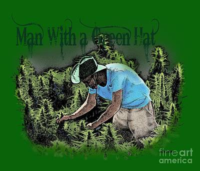 Kush Drawing - Man With A Green Hat by Joseph Juvenal