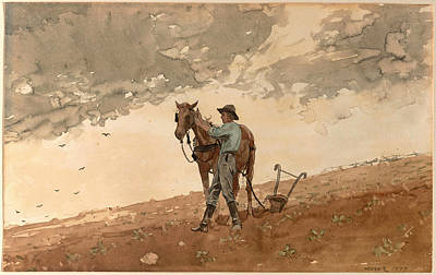 Winslow Homer Drawing - Man With Plow Horse by Winslow Homer