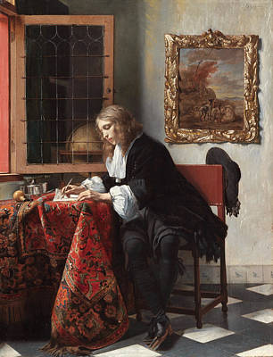 Interior Still Life Painting - Man Writing A Letter by Gabriel Metsu
