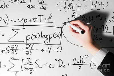 Whiteboard Photograph - Man Writing Complex Math Formulas On Whiteboard. Mathematics And Science by Michal Bednarek