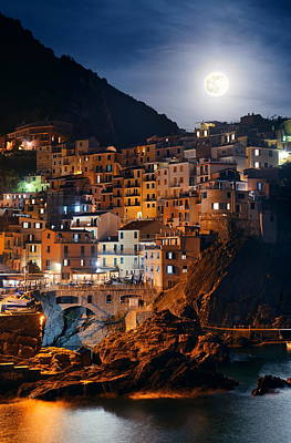 Photograph - Manarola In Cinque Terre Night Moonrise by Songquan Deng