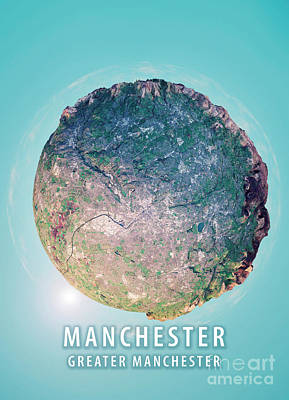 Geography Digital Art - Manchester 3d Little Planet 360-degree Sphere Panorama by Frank Ramspott