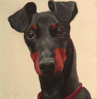 Wall Art - Painting - Manchester Terrier by Alison Stafford