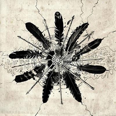 Digital Art - Mandala Arrow Feathers by Bekim Art