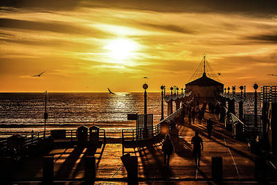 Art Print featuring the photograph Pier Of Gold by April Reppucci