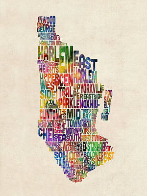 Digital Art - Manhattan New York Typographic Map by Michael Tompsett