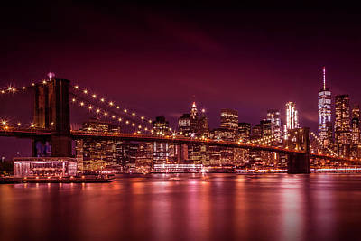 Manhattan Skyline And Brooklyn Bridge Sunset Art Print