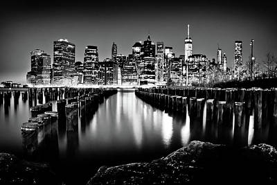 Manhattan Skyline At Night Art Print