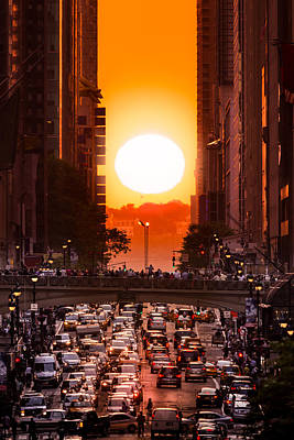 Photograph - Manhattanhenge In New York City by Mihai Andritoiu
