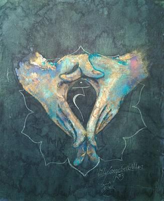 Painting - Manipura - Solar Plexus 'blue Hand' Chakra Mudra by Silk Alchemy