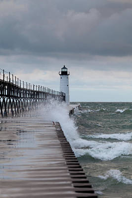 Photograph - Manistee Pierhead Lighthouse by Fran Riley