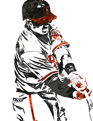 Mixed Media - Manny Machado Baltimore Orioles Pixel Art by Joe Hamilton