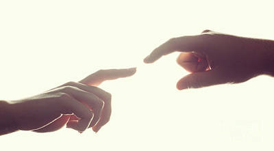 Backlight Photograph - Man's And Woman's Hands, Fingers Reaching Each Other. Love, Connect, Help Concepts. by Michal Bednarek
