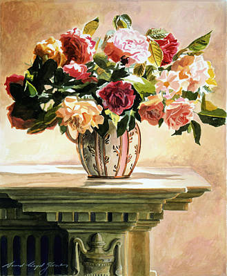 Mantlepiece Painting - Mantlepiece Roses by David Lloyd Glover
