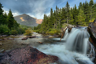 Photograph - Many Glacier Red Rock Falls by Adam Jewell